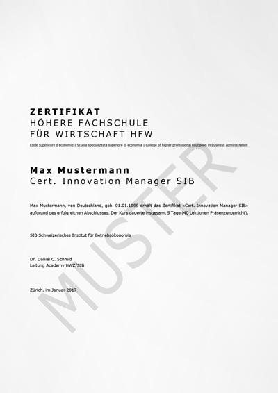Zertifikat der Höheren Fachschule für Wirtschaft HFW Innovation Manager SIB